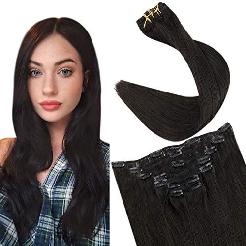 Easyouth Rajout Extensions Humains de Cheveux Couleur Noir Clip in Hair Extensions Cheveux Naturels à Clips 12pouces 30cm 70g 7Pcs par Paquet