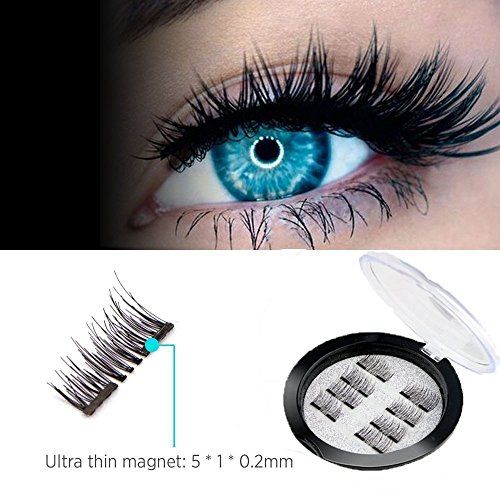 Magnetic False Eyelashes,2Pair of 8PCS 0.2mm Ultra Thin Fake Mink Eyelashes for Natural Look Reusable Best Fake Lashes/ Natural Handmade