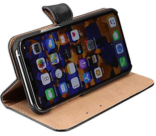 mumbi Echt Leder Bookstyle Hülle kompatibel mit iPhone 11 Pro Hülle Leder Tasche Hülle Wallet, schwarz