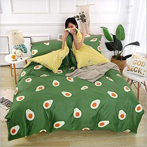 WGLG Double Bed Duvet Sets, Comforter Bedding Sets Yellow Plaid Bedding Set Cotton 3Pcs/Set Ab Side Printing Duvet Cover Bed Sheet Pillowcase