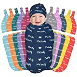 Personalized Baby Blankets and Hat with Name Custom Newborn Infant Swaddle Blanket for Boys Girls Customize Sleep Sack Baby Gift,Multi Colors to Choose