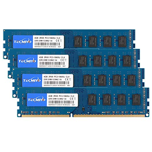 TECMIYO 16GB Kit (4x4GB) DDR3 1333MHz PC3-10600 PC3-10600U Non ECC Unbuffered 1.5V CL9 2RX8 Dual Rank 240 Pin UDIMM Desktop Memory Ram Module