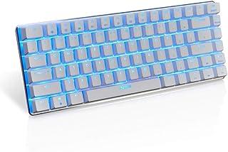 لوحة مفاتيح جيمنج ميكانيكية سلكية للكمبيوتر باضاءة خلفية LED بلون ازرق فاتح، 82 مفتاح ومفتاح ازرق