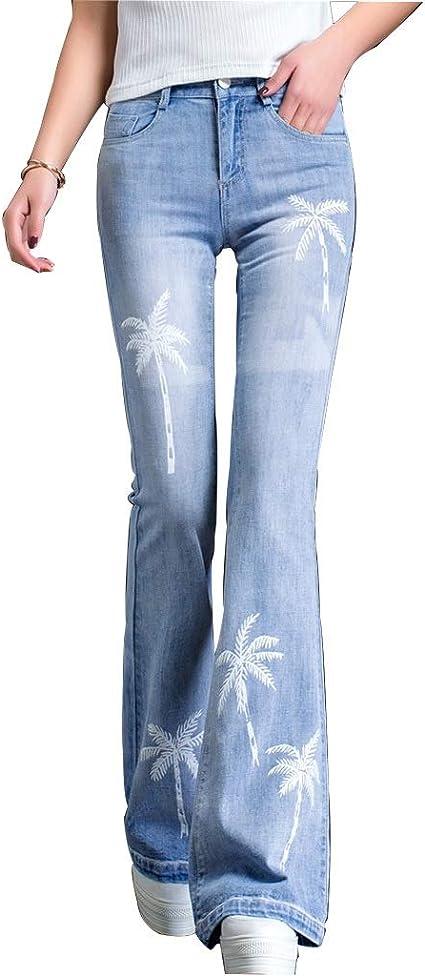 Pantalones Ropa Vaqueros Para Mujer Cintura Alta Estampado De Luz Pitillo Acampanado Grande Vaqueros Delgados Tela Mujer Color Blue Size 30 Amazon Es Hogar