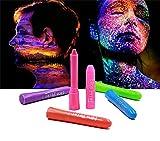 Crayones de Pintura Facial Luminosos,Barras de Pintura Corporal y Facial de neón Fluorescente,Lavables,para Fiestas de Cumpleaños de Mascaradas