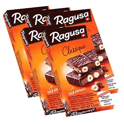 Ragusa Classique Schokolade-Riegel mit ganzen Haselnüssen 100g (5er Pack)