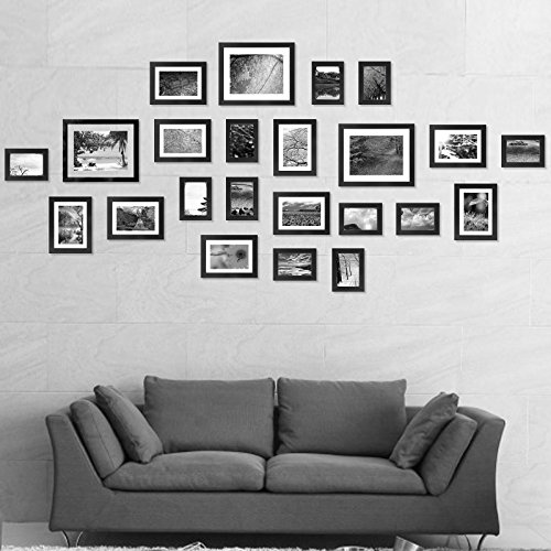 Voilamart Picture Frames Set of 23, Multi Pack Photo Frame Set Wall Gallery Kit - Displaying Three 6R 6x8 in, Nine 4R 4x6 in, Eleven 3R 3x5 in, with Wall Template and Hanging Hardware (23Pcs Black)