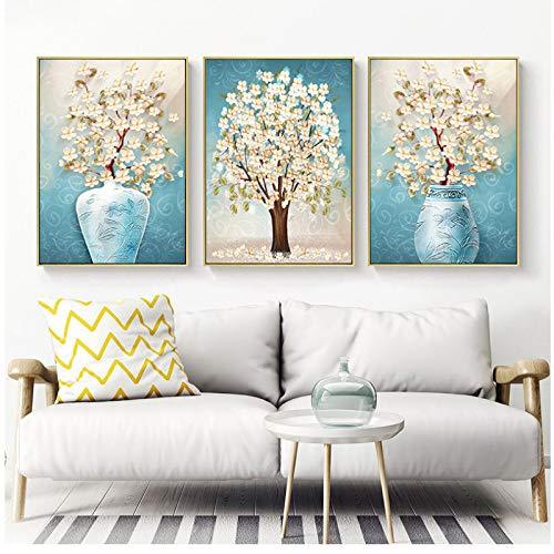 Moderne stilleven vaas lichtblauwe bloem en canvas wooncultuur muurschilderij kunst schilderij voor de woonkamer 50x70x3 stuks cm geen lijst