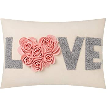 JWH 3D Rose Flower Heart Accent Pillow Case Handmade Cushion Cover Decorative Pillowcase Cotton Canvas Sham Home Bed Living Room Decor Girl Love Letter Applique Embroidery Sham Gift Pink 14 x 20 Inch