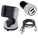 dayutech 3 Pack Bling Rhinestones Cell Phone Set (Car Phone Mount Holder Car Charger Charging Cable) for iPhone iPad Android Bling Accessories for Women Girls Ladies