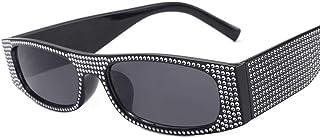 DovSnnx - DovSnnx Gafas De Sol Unisex para Hombres Y Mujers Polarizadas Protección 100% Uv400 Clásico Vintage Moda Sunglasses Imitación Diamante Negro Montura Lente Gris