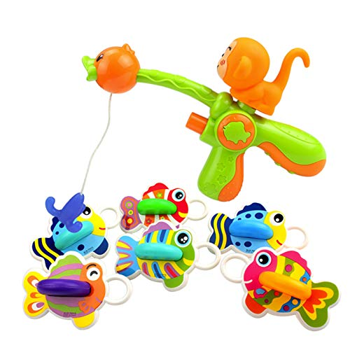 GQFGYYL-QD Juguetes de Baño, 1 Pistola de Agua, 6 Peces, 1 Anzuelo de Pesca, Juguete de Animales Juguetes Baño para Bebés Mayores de 18 Meses para Bañera y Piscina
