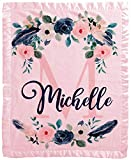 Personalize It Baby Blanket for Girls 30x40 in (Pink) Customized with Name Personalized Monogram for Newborns and Infant in Floral Girl Navy Indigo Blue and Pink with Satin Trim
