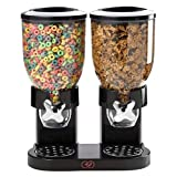 Cereal Dispenser – Countertop Dry Food Holder, Candy Dispenser Machine for Home/Office Desk - Snacks, Grains, Cheerios, Dry Powder Container, Double Cereal Maker (Black Large) by Stock Drop