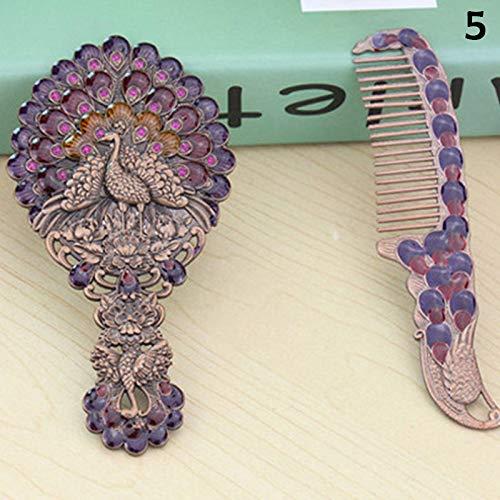 Fanville Vintage Mirror Comb Set Kit de Maquillage Vanity Desk Mini Miroir de Poche Rétro modèle Paon Antique Main Miroir et Peigne