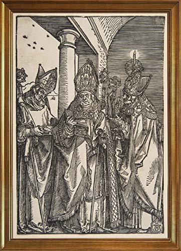 Berkin Arts Klassisch Rahmen Albrecht Durer Giclée Leinwand Prints Gemälde Poster Wohnkultur Reproduktion(Heilige Nikolaus Ulrich und Erasmus) #JK