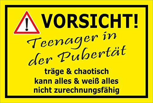 MelisFun Teenager in der Pubertät - lustiges Schild Geschenk-Idee Scherz-Artikel
