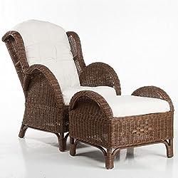 brauner rattan ohrensessel mit hocker f r den wintergarten. Black Bedroom Furniture Sets. Home Design Ideas