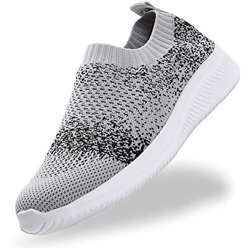 Gaatpot Damen Mesh Sneakers Atmungsaktiv Slip On Walkingschuhe Freizeit Leichte Laufschuhe Outdoor Sportshuhe Grau 41EU=42CN