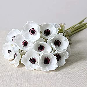 Artificial and Dried Flower 5pc Silk Flower Artificiales for Wedding Holding BouqueReal Touch Artificial Anemone Flowers Fake Flowers Home Decorative Wreath – ( Color: White )