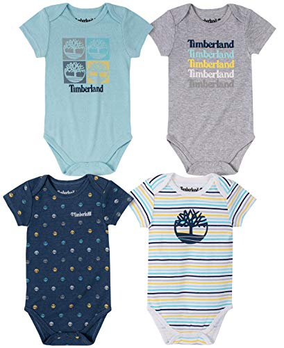 Timberland Baby Boys' 4 Pieces Pack Bodysuits, Navy/Grey/Pool bar, 3-6 Months