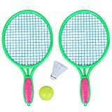 Nrpfell Raquette de Tennis de Plage Sports de Plein Air pour Les Enfants Raquette de Tennis avec Balle de Badminton Vert