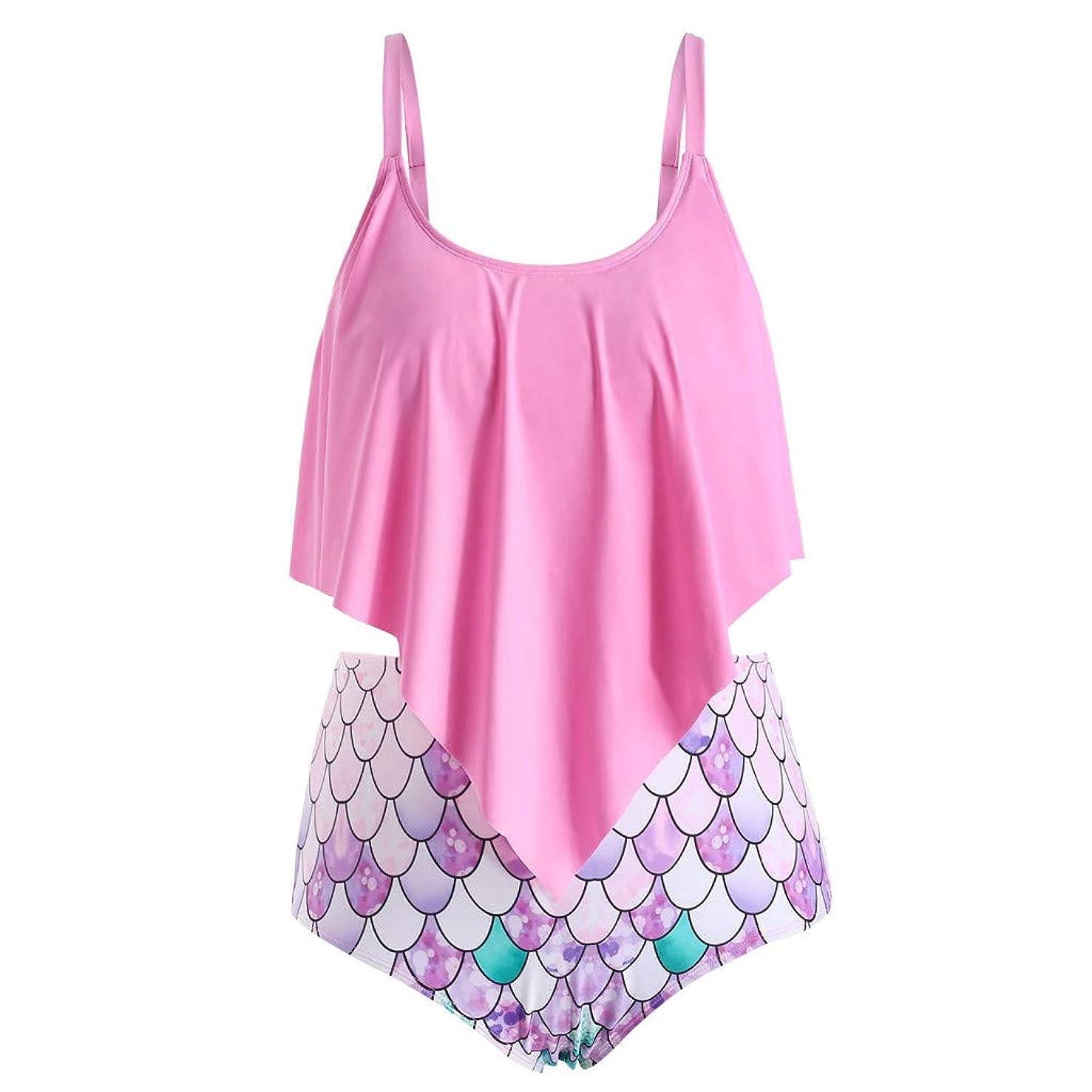 Mermaid Scales Print Tankini Swimsuits, High Waisted Swim Bottom with Ruffle Bandeau Top Beach Bikini Hot Sexy Swimwear