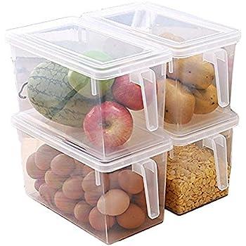 MineSpace - Juego de 4 cajas de almacenamiento de plástico con asa cuadrada para almacenamiento de alimentos con tapas para nevera, armario de nevera o escritorio (tamaño grande): Amazon.es: Hogar