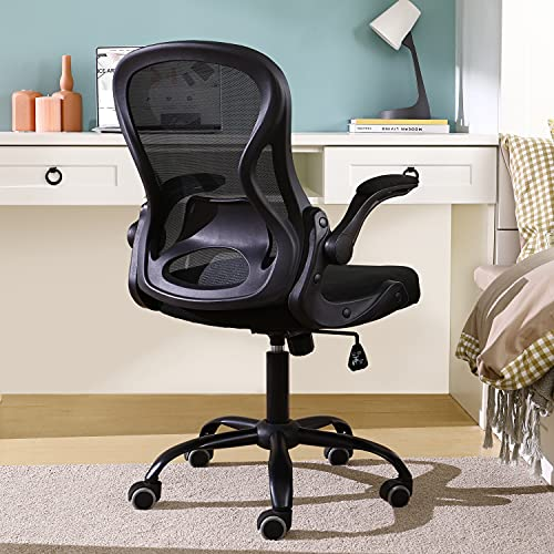 BERLMAN Ergonomic Mid Back Mesh Office Chair with Flip-up Arms and Adjustable Height Desk Chair Anchor Chair Student Chair Computer Chair (Black)