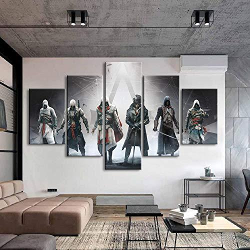 Yxsnow 5 Leinwandbilder Rahmen Wandbilder Wohnkultur Bild auf Leinwand HD Assassins Creed Videospiele Leinwanddrucke Drucke auf Leinwand