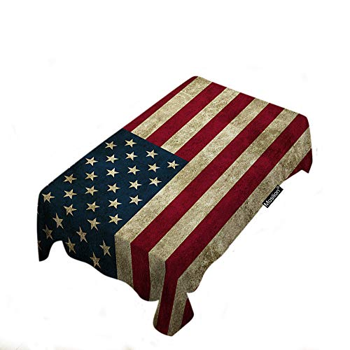 Moslion Rustic USA Flag Tablecloth Vintage American Flag Patriotic Striped Design Stars Old Aged Grunge Art Rectangle Tablecloth Picnic Tablecloth BBQ Table Cloths Polyester for Kitchen 60x90 Inch