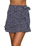 Jeanewpole1 Womens Floral Mini Skirts Wrap Pleated Ruffle Hem Cute Beach A Line Short Skirts