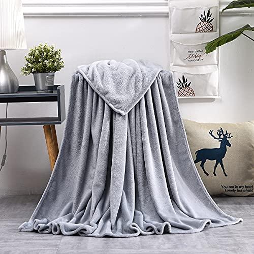 GDDREAM Mantas para Sofa de Franela,Manta para Cama 90 Reversible de 100% Microfibre Extra Suave,Manta Transpirable (Gris Claro, 130x150 cm)
