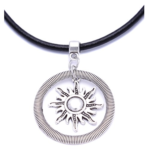 Black Real Leather Cord Charm Choker Necklace Pendant Retro Hippy Tibetan Silver For Women Girl (#7 Flaming Sun Ring)