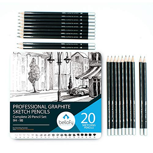 Bellofy Graphite Sketching Pencils   Complete Professional Drawing Pencils for Artists   9B-9H Art Pencils for Drawing and Shading   Sketch Pencils for Drawing Sketching Supplies   Graphite Pencil Set