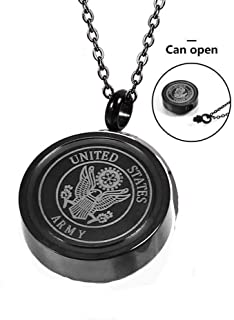 YOUYUZU Army Cremation Urn Necklace for Ashes Keepsake Memorial Jewelry