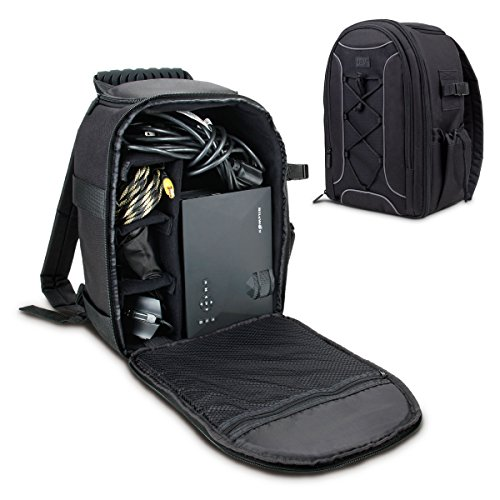USA Gear Portable Projector Carrying Case with Custom Storage Dividers, Accessory Pockets and Waterproof Rain Cover - Compatible with ViewSonic,...