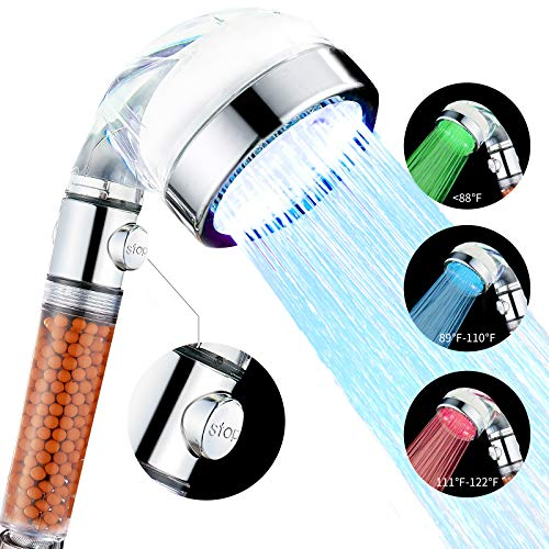 Cobbe LED Shower Head with ON/Off Switch, Handheld Showerheads with Filter Filtration High Pressure Water Saving 3 Mode Function Spray for Dry Skin & Hair