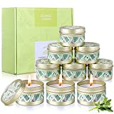 Citronella Candle Set 9 x 2.5oz | Natural Soy Wax Lemongrass Citronella Oil Tin Candles | 90-135hrs Burning Candle Set for Patio Camping Garden