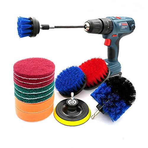 14-teiliges Bohrbürstenset, Power Scrubber Brush, Scheuerschwämme und Schrubbschwamm Allzweck für die Badezimmerküche im Auto