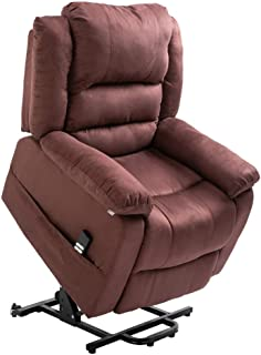 Homegear Microfiber Heavy Duty Dual Motor Power Lift Electric Recliner Chair, Brown