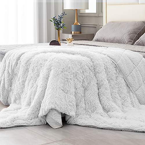Topblan Fuzzy Sherpa Faux Fur Weighted Blanket 15lbs, Ultra Soft Reversible Plush Blanket with Luxury Long Fur and Shaggy Sherpa to Help with Better Sleep, 60x80 inches Cream