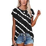 WANGTIANXUE Camiseta de manga corta de gran tamaño para mujer, cuello redondo, estampado de rayas diagonales, túnica, holgada, informal y de verano Negro M
