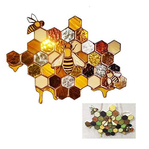 Queen Bee Protect Honey Suncatcher, Panal de Abejas Colector de Sol para la Decoración de la Pared del Jardín Casero Hecho a Mano