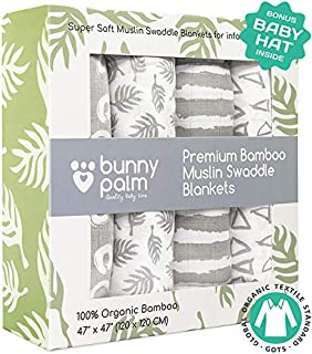 Muslin Swaddle Blankets, Unisex Organic Bamboo for Baby Set of 4 Swaddles for Boys and Girls, Soft Swaddling Receiving Sleep Blankets, Grey Unisex Infant Toddler Gender Neutral Baby Hat …