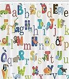 YEHO Art Gallery ABC Alphabet Waterproof Fabric Polyester Bathroom Shower Curtain 66'(w) x 72'(h)