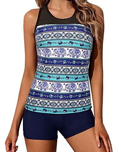 Yonique Blue Tankini Swimsuits for Women with Shorts Athletic Two Piece Bathing Suits Racerback Tank Tops Swimwear, Large
