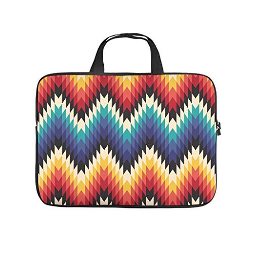 XINGYUE Colorful Zigzag Wave Stripes Laptop Bag Fashion Full Printed Tablet Sleeve Dustproof Polyester Tablet Cover for Businessmen Office Staff White 17inch