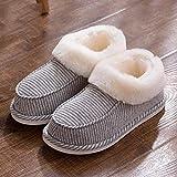 B/H Warme Hausschuhe Männer Drinnen,Gestreifte Baumwollpantoffeln, Handtaschenabsatz, Einrichtungsgegenstände mit dicken Sohlen, rutschfest-grau_46-47