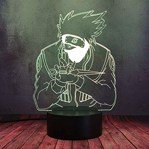 SNFHL Naruto Anime Fans Juguete Regalo Flash Luz Nocturna 3D Luz Óptica Lava Escritorio Modelo Decoración de Mesa Dibujos Animados Manga Japonesa